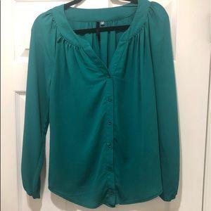 Emerald green long sleeve button down